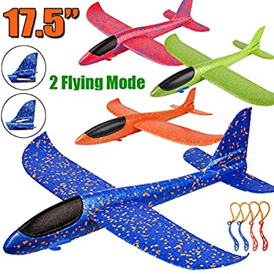 """4 Pack Airplane Toys, Upgrade 17.5"""" Large Throwing Foam Plane, 2 Flight Mode Glider Plane, Flying Toy for Kids, Gifts for 3 4 5 6 7 Year Old Boy, Outdoor Sport Toys Birthday Party Favors Foam Airplane by BooTaa"""