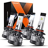 SEALIGHT X2 9005/HB3 High Beam 9006/HB4 Low Beam Brightest LED Headlight Bulbs Combo,100W 600% Super Brighter LED Headlights Conversion Kit 6000K Cool White IP67 Rated, Pack of 4