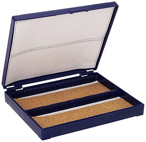 Globe Scientific 513079B ABS Plastic Cork Lined Slide Storage Box for 100 Slides, Blue