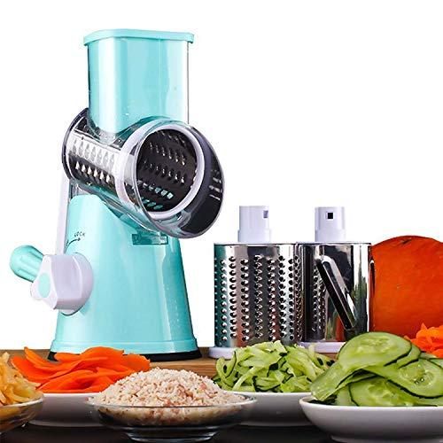 Tagliaverdure rotante 3 in 1 in acciaio inox multifunzione, tagliaverdure a manovella, utensile da cucina essenziale per la cucina. Blu