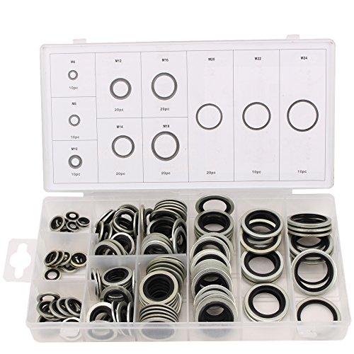 CCLIFE 150 tlg O-Ring Dichtungen Dichtungsringe Sortiment Für Ölablass Schrauben Bonded Seal Dichtring M6-M24