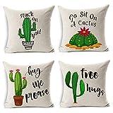 MIULEE Set di 4 Cuscino Stampato Lino Serie di Cactus Federe Decorativo Quadrato Federe Cuscino Set Custodia per Divano Letto18 X18 45 X 45Cm