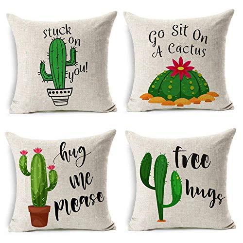 MIULEE Juego de 4 Lino Cojines Cactus Series Funda de Cojín Almohada Caso de Decorativo Cojines para Sala de Estar sofá Cama18 x18 Pulgadas 45x45cm