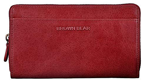 Brown Bear Echtleder Geldbörse Damen Leder Rot Vintage lang groß viele Fächer Reißverschluss umlaufend RFID Schutz Blocker Design Portemonnaie hochwertig Frauen Geldbeutel Portmonaise Conny CRD