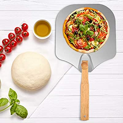 Kitchen Supply Aluminum Pizza Peel, 12 x 14 inch Pizza Peel with Foldable Wood Handle, Pizza Baking Paddle for Baking Bread Pies Cookies