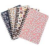 Olgaa 4 paquetes de cuadernos con espiral encuadernados en espiral para cuadernos de tapa dura floral cuadernos encuadernados...