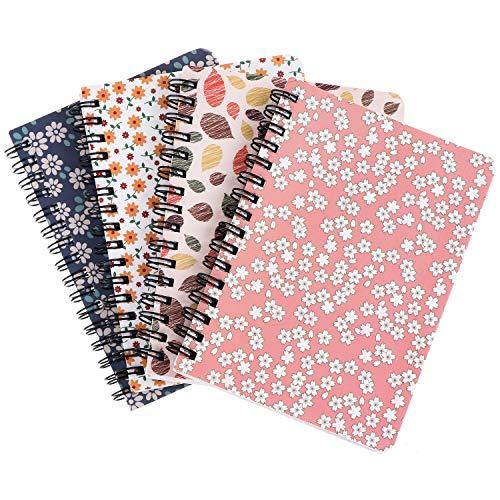 Olgaa 4 paquetes de cuadernos con espiral encuadernados en espiral para cuadernos de tapa dura floral cuadernos encuadernados en espiral, hojas sueltas para estudiantes