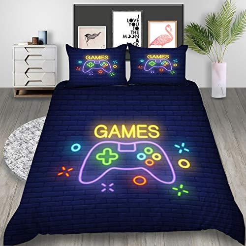 Ropa de Cama con Gamer Gamepad 3D Funda Nórdica Funda de Almohada Controlador de Videojuegos Creativa Impresión Moda Bedding para Niño Adolescentes Chico (Marino, 180x210cm Cama 90 cm)