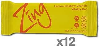 Zing Vital Energy Nutrition Bar, Lemon Cashew Crunch, (12 Count), High Protein, High Fiber, Low Sugar, Tangy Natural Flavor, Cashew Butter