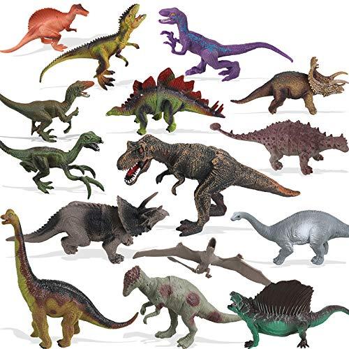 Anpro Dinosaurier Spielzeug, 15Stk Dinosaurierfiguren mit 50 Stück Dinosaurier-Aufkleber, Spielmatten & Bäume für Kinder Jungen und Mädchen