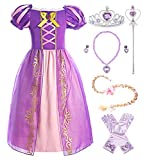 ReliBeauty Mädchen Kleid Puffärmel Prinzessin Rapunzel Kostüm Kinder, lila, mit Zubehör, 130