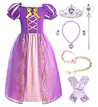 ReliBeauty Girls Dress Puff Sleeve Princess Costume 6-7 Purple with Accessories