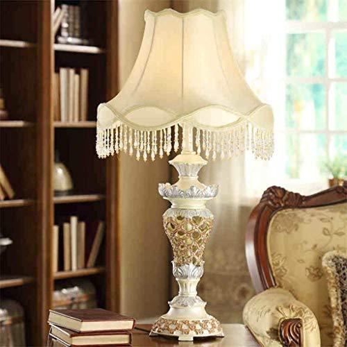 XUSHEN-HU led Lámparas de Mesa, Personalidad Simple de Lujo American Luces de la Sala Dormitorio Den lámpara de cabecera Tallada Retro, persiana Resina luz de la Noche de Lectura Interior