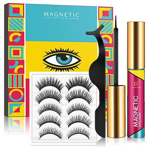 Magnetische Wimpern,Magnetic Eyeliner und Magnetic Eyelashes Set,Natürlich Wasserdicht Falsche Magnetische Wimpern,3D Magnetische Wimpern mit Wasserdichtem Langlebigem Magnetische,5 Paare