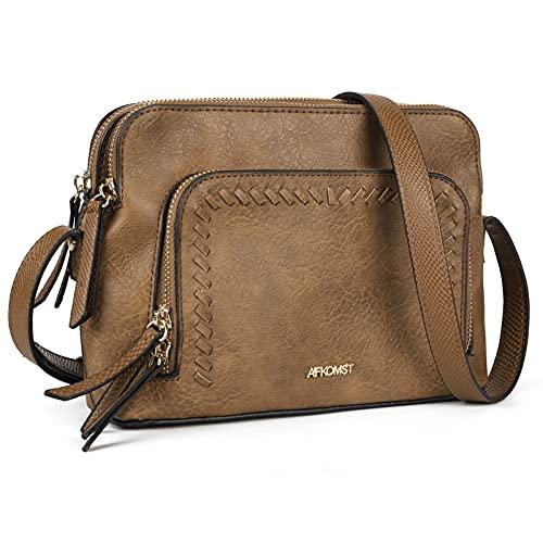 Small Crossbody Purses for Women Triple Zip Shoulder Handbags and Vegan Leather Cross Body Bag with Adjustable Strap (Khaki)