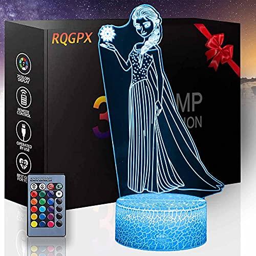Luz nocturna 3D Frozen Elsa B 3D ilusión noche lámpara LED mesa ilusión lámpara decoración del hogar regalo de cumpleaños para niños - Base Crackle