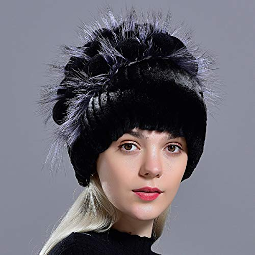 RWLOVE Winter Fur Hat Natural Women's Warm Hats Novelty Knitted Floral Ladies Fur Cap 003