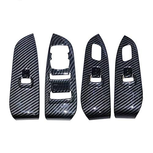 SAXTZDS Accesorios de Coche ABS Fibra de Carbono Interior Interruptor de elevación de Ventana botón Panel embellecedor Cubierta, Apto para Lincoln MKZ 2017-2019