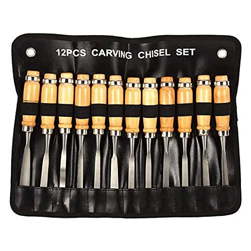 Set di scalpelli professionali per intaglio del legno, Akozon 12 pezzi Utensili per intaglio professionali Strumenti per la lavorazione del legno affilati con custodia Ideale per principianti
