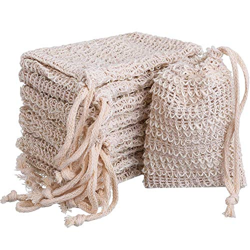 BBTO 10 Pack Exfoliating Natural Sisal Soap Bag Pouch Soap Saver