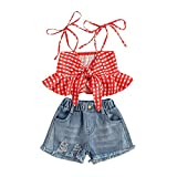 Conjunto de ropa de verano para bebés y niñas, sin mangas, con nudos y pantalones cortos de mezclilla rasgados, 2 piezas, 1-6T