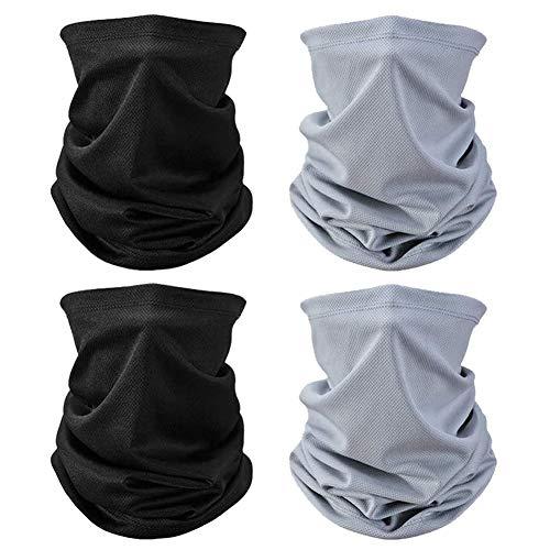 Multifunktionstuch 4 Stück Halstuch Mundschutz, Schal, Sommer, UV-Schutz, Halstuch, kühlendes Bandana, Kopfbedeckung, ideal zum Angeln, Wandern, Laufen, Radfahren (2 schwarz und 2 grau)