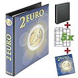 LINDNER Das Original Álbum de recortes para monedas de 2 euros, incluye 5 hojas para un total de 100 monedas, ampliable con hojas complementarias.