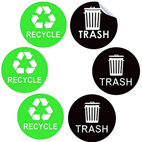 Pegatina con el logotipo de la papelera de reciclaje 6 unidades redonda autoadhesiva para reciclaje y papelera con logotipo de vinilo para latas de basura de aluminio o plástico interiores