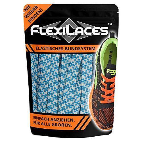 FLEXILACES - elastische Schnürsenkel | nie Wieder Schuhbänder binden - BLAU-Weiss-Muster