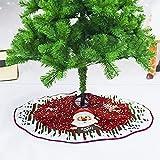 LPOQW Árbol de Navidad con diseño de letras de alce de Papá Noel impreso, tapete para pie de árbol de Navidad, falda de árbol de Navidad, 90 cm