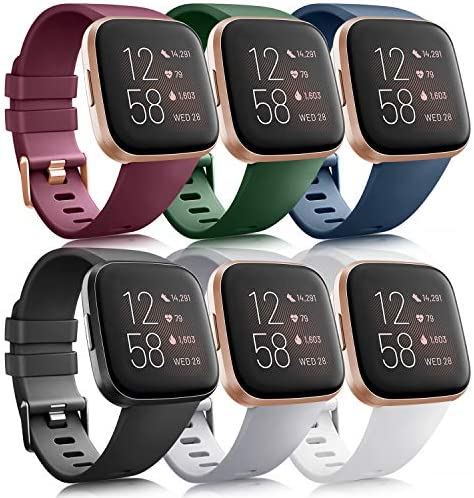 6 Pack Sport Bands Compatible with Fitbit Versa 2 Fitbit Versa Versa Lite Versa SE Classic Soft product image