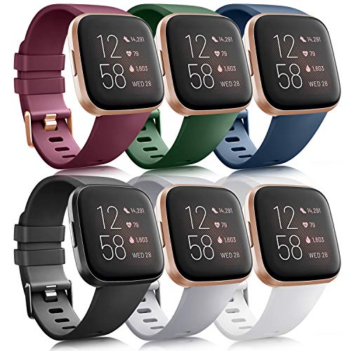 6 Pack Sport Bands Compatible with Fitbit Versa 2 / Fitbit Versa/Versa Lite/Versa SE, Classic Soft...
