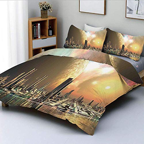 Zozun Duvet Cover Set,Utopia Islands Floating Future Cities Imaginary Fantasy Artwork Futuristic Decorative 3 Piece Bedding Set with 2 Pillow Sham,Yellow Peach,Best Gift For Kids & Ad