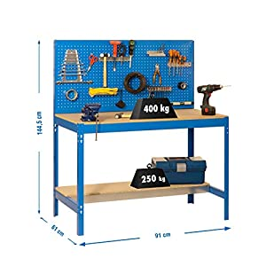 Simonrack 448100045159062 Banco de trabajo (1440 x 900 x 600 mm, 2 estantes y 1 panel perforado, 400 kg-250 kg) color azul/madera, 900 mm