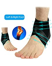 Mainstayae Adjustable Sports Elastic Ankle Brace Support Basketball Protector Foot Wrap