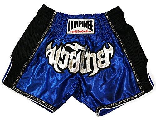 Lumpinee Retro Muay Shorts, Thai-Kampf/Kickboxen, damen Herren Kinder, blau