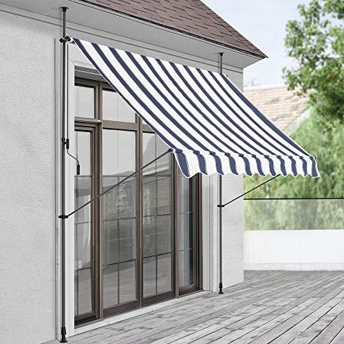 Toldo articulado con armazón 300 x 120 x 200-300 cm Toldo Enrollable terraza balcón Protector de Sol Parasol Azul Oscuro y Blanco