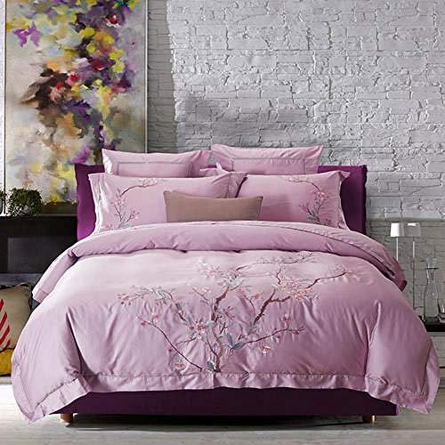 TYDH 30 4/6Pcs Egypt Cotton plum blossom Bedding Set embroidery Duvet cover set Bed Sheet Pillowcases Queen King Size SDE2 Queen size 6pcs