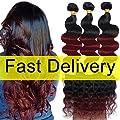 Ombre Brazilian Body Wave 2 Tone Black to Burgundy Human Hair Weave T1B/99J