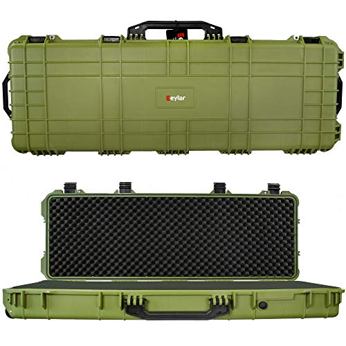 Eylar 44 inch Protective Roller Tactical Rifle Hard Case with Foam, Mil-Spec Waterproof & Crushproof, Two Rifles Or Multiple Guns, Pressure Valve with Lockable Fittings OD Green