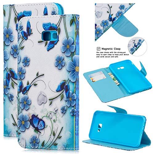 Artfeel Étui Portefeuille en Cuir pour Samsung Galaxy Note 9,Fleur Papillon Bleu Motif Coque à Rabat avec Porte-Carte Pochette Housse,Style Livre Fermeture Magnétique Support Couverture