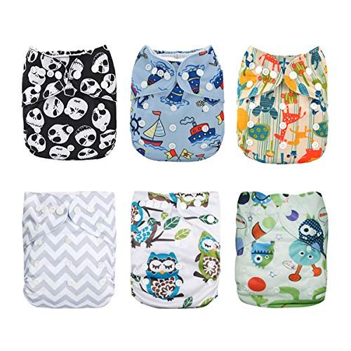ALVABABY Baby Cloth Diapers One Size Adjustable Washable Reusable for Baby Girls and Boys 6 Pack with 12 Inserts 6DM12