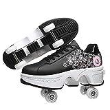 Ruedas Ajustables Aire Libre Y Deporte Gimnasia Zapatillas De Skate para Niños Zapatillas con Ruedas Botas De Patines De 4 Ruedas,Black Pink,EU 37(US 7)