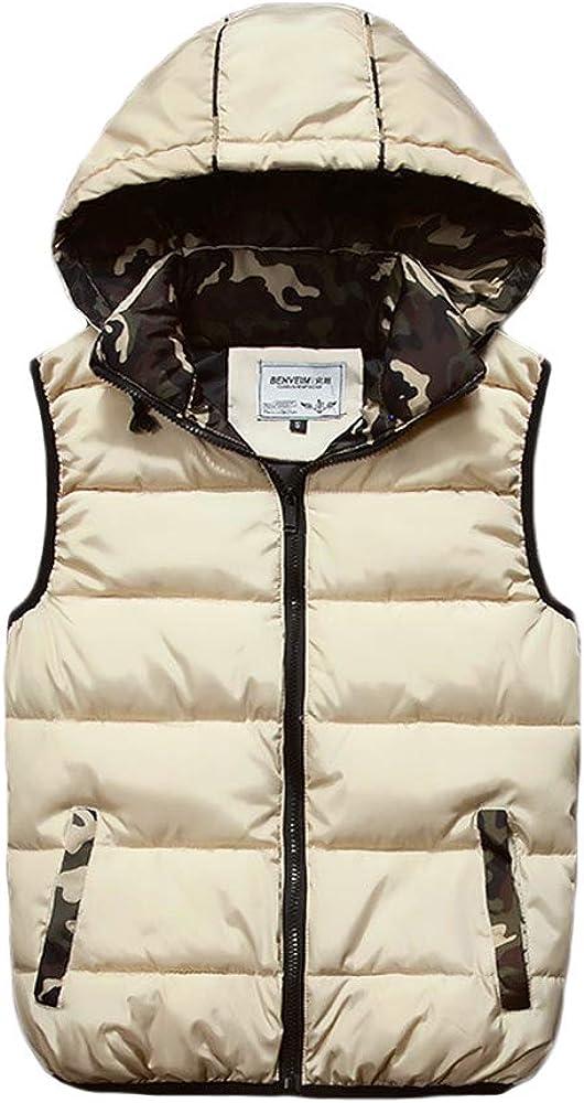Summersum Men's Winter Vest Removable Hooded Vest Warm Sleeveless Jacket Full Zip Down Vest