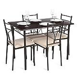 IKAYAA 5PCS Ensembles pour Salle à Manger en Métal Moderne Cuisine Table Chaises Définie pour Meubles de Cuisine 4 Personne 120kg Capacité de Charge (#1)