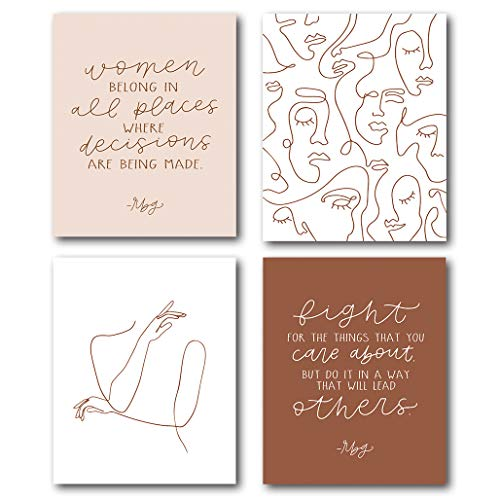 XUWELL Women Belong in Places Where Decisions are Being Made Wall Art Prints, Boho Woman Abstract Line Wall Art Poster Decor for Home Bedroom Office, 8 x 10 Inch Set of 4 Prints, Unframed