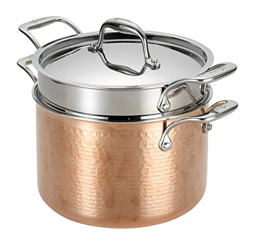 Lagostina Q5544864 Martellata Tri-ply Hammered Stainless Steel Copper Dishwasher Safe Oven Safe Pasta Pot with Lid and Pasta Insert Cookware, 6-Quart, Copper