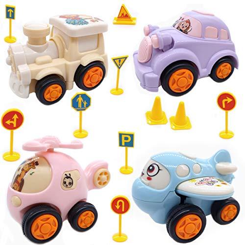 4 Unids Push and Go Cars Vehículos de Fricción de Dibujos Animados Juego de Juguete para Niños Niñas Bebés y Niños Pequeños Regalos Creativos de 1 Año
