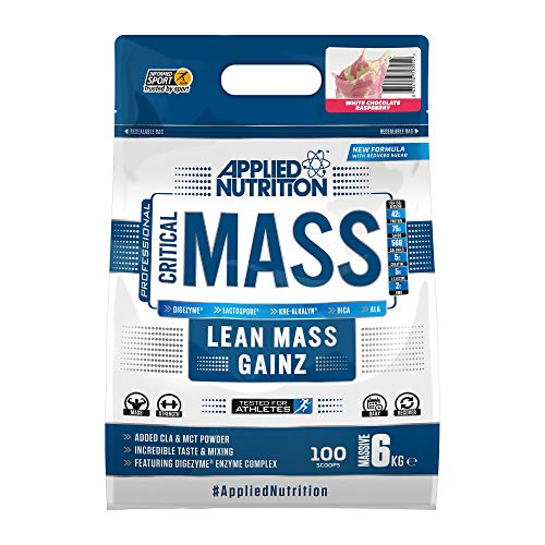 Applied Nutrition Critical Mass Professional Protein Powder, High Calorie Weight Gainer, Low Sugar, Informed Sport Tested, Lean Mass with Creatine, Glutamine, BCAA - 6kg (White Chocolate Raspberry)