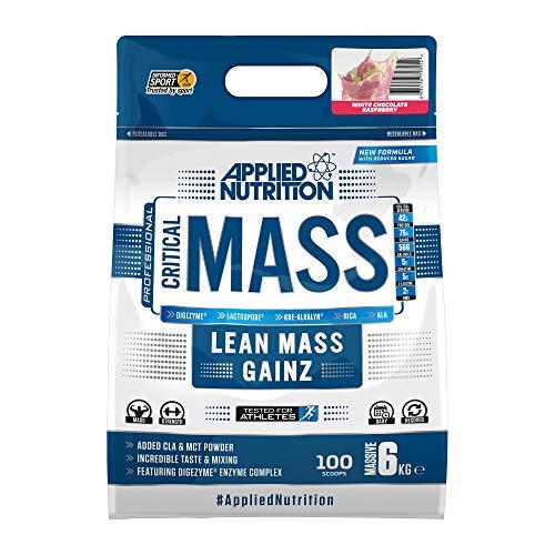 Applied Nutrition Critical Mass Protein Powder High Mass Gainer, Serious Weight Gain Supplement with BCAA, HMB, Glutamine, Leucine, Creatine, 6kg - 40 Servings (White Chocolate Raspberry)